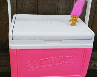 "Vintage Coleman Cooler ""Bubblicious""// Neon pink// promotional item// Rare HTF Coleman// Summer// Glamping// festival EDM// 1991 Coleman."