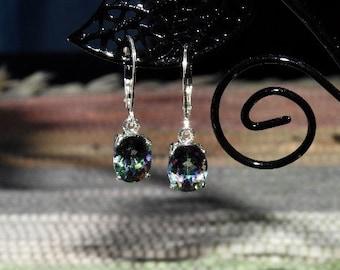 Rainbow Mystic Topaz 4.45 TCW 9 x 7 MM Oval Leverback Earrings