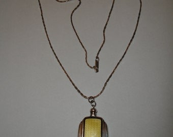 Art Deco Sterling Silver Guilloche Enamel Perfume Bottle on Chain Necklace