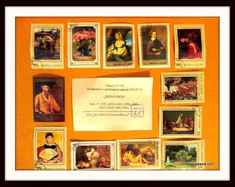 12 vintage used postage stamps from Russia - classic art theme.