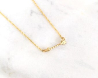 Gold Tiny Arrow Necklace/Cute Necklace/Perfect for any occasion