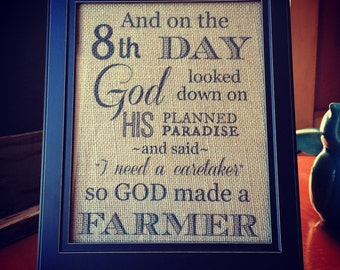 On the 8th Day Burlap Print