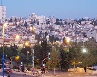 Jerusalem Nachlaot Photograph Israel at Twilight Night Time Holyland Judaica Photo Holy Land Jesus Original