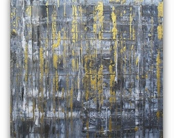 Original Modern Abstract painting Gold Gray painting Gold canvas art Contemporary art Gold wall art Home wall decor 12x12inch (30x30cm)