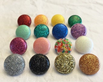 Made to Order - Lovely Lila Glitter Resin Button Ear Studs - Various Colours Including Custom Options