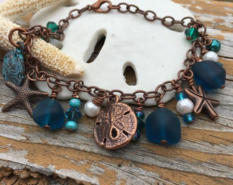 Sand dollars, starfish, & seaglass charm bracelet ~ copper and teal