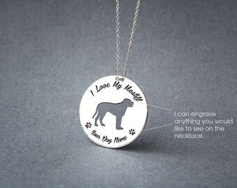 Personalised DISK MASTIFF Necklace / Circle dog breed Necklace / Mastiff Dog necklace / Silver, Gold Plated or Rose Plated.
