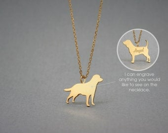 14K Solid GOLD Tiny LABRADOR RETRIEVER Name Necklace - Labrador Necklace - Gold Dog Necklace - 14K Gold or Rose Plated on 14k Gold Necklace
