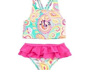 Monogram Girls Swimsuit Paisley- Monogrammed Girls Bathing Suit / Girls Swimsuits / Toddler Swimsuit / Toddler Bathing Suit / Girls Swimwear
