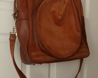 1970s Leather and Corduroy Racquet Bag