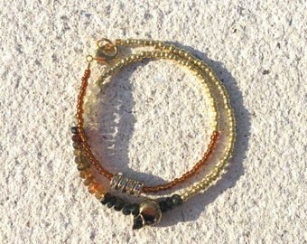 Bronze skull double wrap bracelet