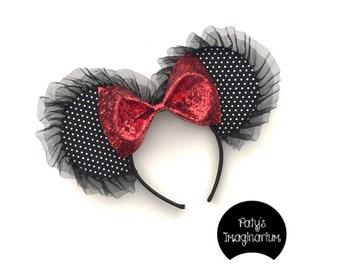 Black & White Polkda Dot Mouse Ears