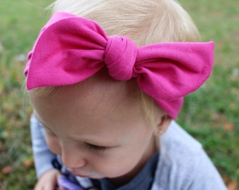 hot pink top knot headband baby/infant/toddler/girls