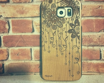 Laser Engraved Hand Drawn Floral Plumeria Zentangle Doodle Inspired Pattern on Genuine Wood phone Case for Galaxy S5, S6 and S6Edge S-028
