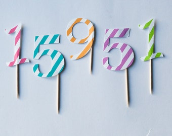 Number Cupcake Topper, birthday toppers, party toppers, stripped cupcake toppers, birthday decorations,  set of 10