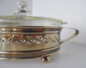 Antique 1920's early Pyrex,  casserole dish with EPNS silver plated stand - oval