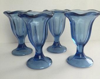 4 set ice cream cups, blue cobalt glass dessert cups, 70's ice cream cups