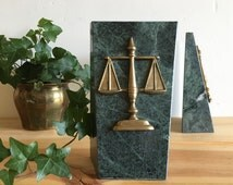 Vintage Brass & Green Marble Legal Scales of Justice Bookends Lawyer Office Law School Attorney Decor Gift Bookend