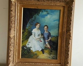 Late 19thC Painting Two Children Oil on Boeard unsigned