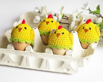 4 Crochet Chicken Egg Cozies, Easter Egg Warmers, Handmade Holiday Decor