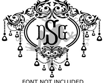 Damask Chandlier Monogram SVG/DXF files