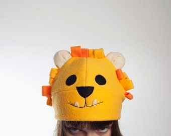 Lion fleece Cap. Fleece hat rayon Lambert