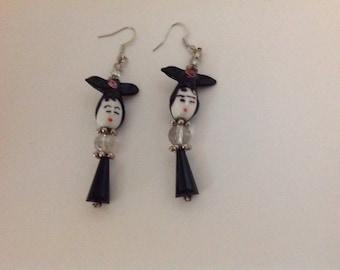 Glass Bead Geisha Girl Earrings