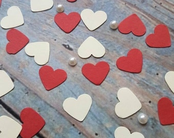 Romantic Red and Ivory mix hearts table confetti decoration .Wedding , anniversary Eco