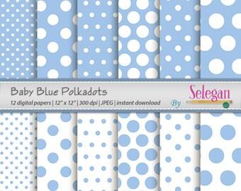 "polka dot "" Baby Blue Polkadots "" polka dots digital scrapbook pages baby blue printable background instant download"