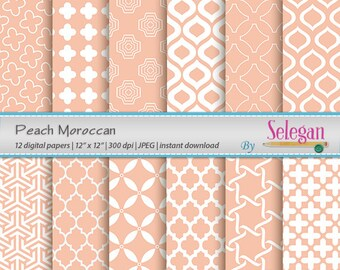 "moroccan paper ""Peach Moroccan"" digital scrapbooking 12x12 peach printable arabian pattern islamic moroccan eid background download"