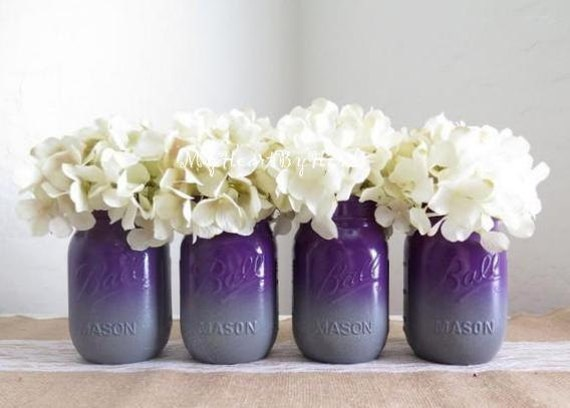 Purple and gray ombre mason jars with glitter base accent