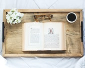 Serving Tray, Wood Serving Tray, Breakfast Tray, Housewarming Gift, Bed Tray Table, Breakfast BedTray, Coffee Table Tray, Reclaim Wood Look