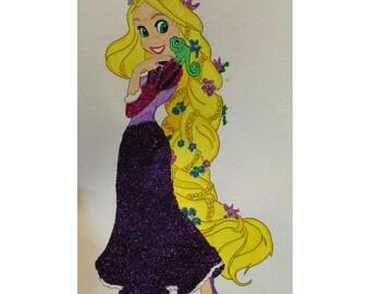 Rapunzel A4 glitter art