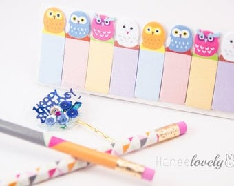 Owl Page Flags, Mini Page Flags, Cute Page Flags, owl Bookmarks, Dotted Page Flags, Pastel, planner decoration, Sticky Notes, Post It Notes