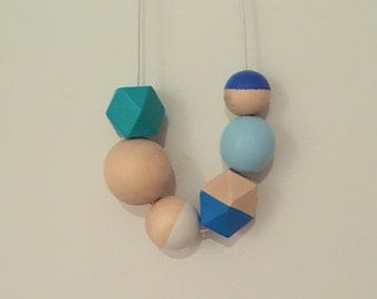 Wooden bead necklace // Geometric necklace // Colours of the Sea // hand painted wooden necklace // turquoise and aquamarine