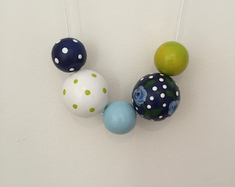 Wooden bead necklace // LIMITED EDITION // Botanical Collection //Geometric and round wooden bead necklace // handpainted navy floral and li