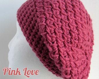 Crochet Slouchy Hat, Pink Crochet Hat, Boho Crochet Hat, Womens Crochet Hat, Womens Winter Hat, Crochet Slouchy Beanie