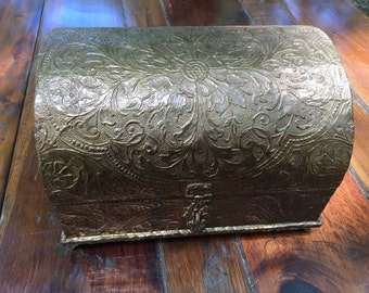 Vintage brass chest/ jewelry box