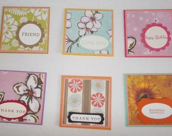 Handmade 3x3 Mini Cards Set of 6