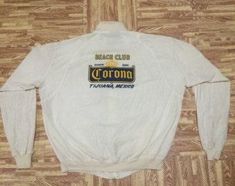 Vintage 70s CORONA BEER Beach Club Tijuana Mexico Sweater Jacket Extra Large Size