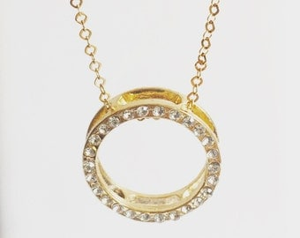 Gold Pave Circle Necklace, Love Necklace, Open  Circle Necklace