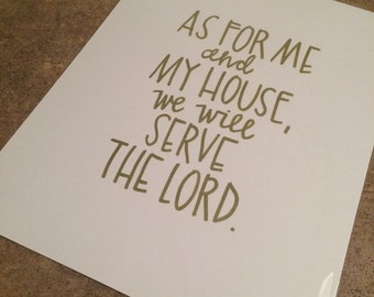As for me and my house hand lettered print
