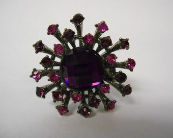 Large Purple Jewel Cluster Starburst Adjustable Ring Vintage Costume Jewelry 1990's