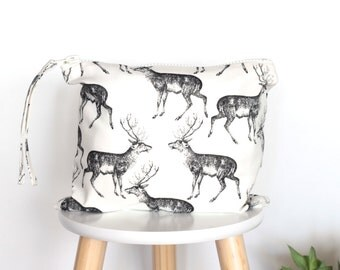Stag Clutch, Nappy Clutch, Diaper Clutch, Deer Clutch, Black and Cream, Black and Off White Clutch