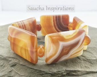 Elastic bracelet gemstones, agate, honey, caramel and white, semi-precious stone