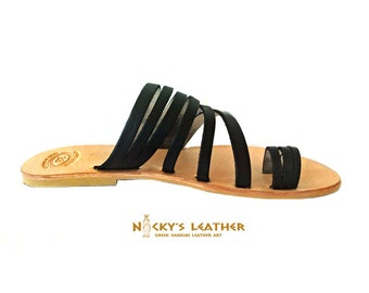 LEATHER Strappy Sandals from Full Grain Leather in Black Color