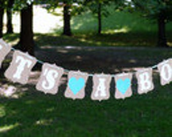 Vintage, pennant chain it's a boy, Babyshower baby