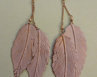 Vintage Statement Earrings, Large Gold Leaf Earrings, Large Gold Drop Earrings