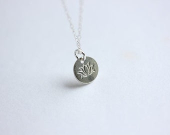 Lotus coin disc flower necklace  - Silver Lotus Flower necklace - Zen - Buddhist - Yoga Necklace - Gift for her