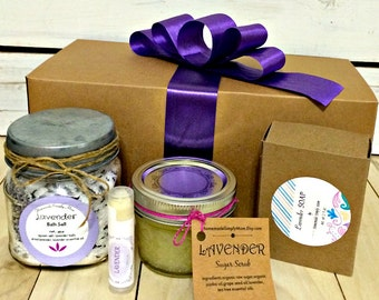 Lavender Valentines Day Spa Gift Set- Birthday Gift Set- Spa Gift Box- Spa gift set-Teacher Gift- Relaxing spa gift set